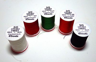 "3/0 STREAMER TWIST Fly Tying Threads by ""4Trouts"" brand, Lot of 1, 3 or 5 spools"