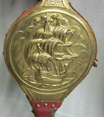 Vintage Lombard England Signed Red Leather Wood Brass Repousse Ship Fire Bellows