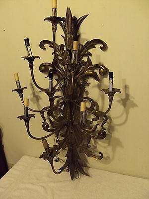 """Large Vintage Solid Brass 37"""" Wall Sconce 9 Light Electric Fixture Made In Spain"""