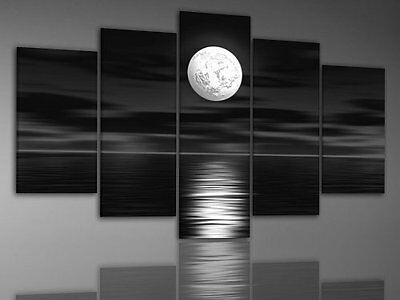 Framed Modern Abstract Wall Art Black Sky White Full Moon Painting Canvas Wood