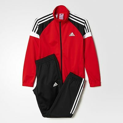 Adidas Kids Full Tracksuit Red/white/black Age 7-14 Rrp £37  Bnwt