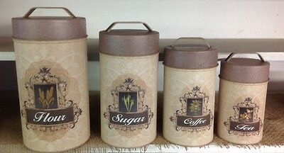 Vintage Look Country Cottage Set 4 FRENCH Motif Canisters Flour Farmhouse Tins