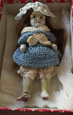 """Antique Porcelain Pin Jointed Doll 4-1/2"""" marked Nippon"""