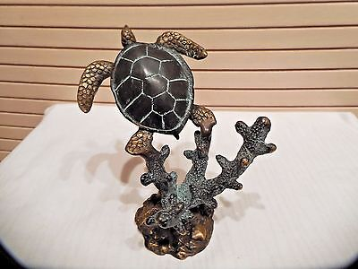 Patina Turtle Sculpture On Coral Brass Base