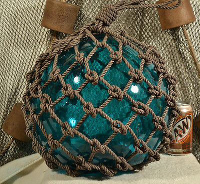 Vintage Glass Fishing Float In  Dark Aqua