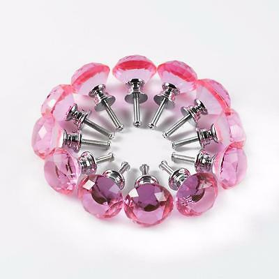 12 PINK Crystal Glass kitchen Cabinet Knob Cupboard Drawer pull door for antique