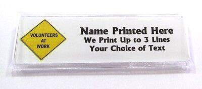 Volunteers At Work Sign Custom Name Tag Badge ID Pin Magnet for Volunteering