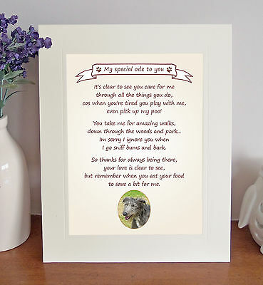 """Lurcher 10"""" x 8"""" Free Standing 'Thank You' Poem Fun Novelty Gift FROM THE DOG"""