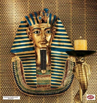 "Ancient Egyptian Art  Gold Pharaoh King Tutankhamen 21"" Handmade Wall Sculpture"