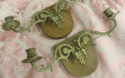 Superb Pair Antique French Bronze Piano Sconces Candle Wall Lights Lamps • CAD $87.78