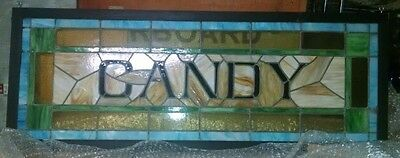 CANDY: Very rare stained glass window from old confectionery or ice cream shop.