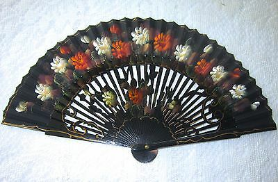 Antique Wooden Wood Cloth Fan Hand Painted Roses Vintage