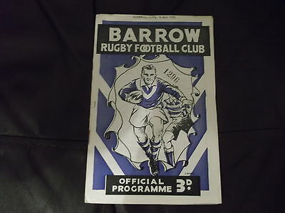 Rare Vintage Rugby League Programme Barrow V Liverpool City 8Th November 1958