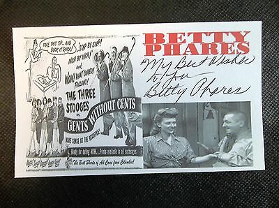 """Betty Phares """"The Three Stooges"""" """"Gents Without Cents autographed 3x5 index card"""