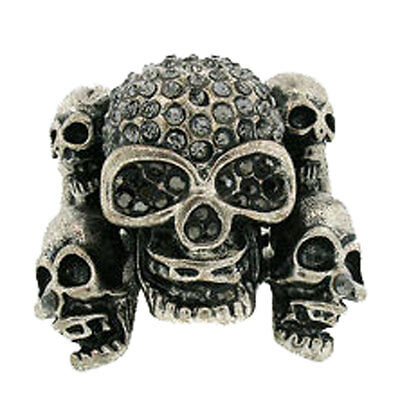 New Crystal Five Skulls Cocktail Ring Antique Silver Tone Metal Gothic
