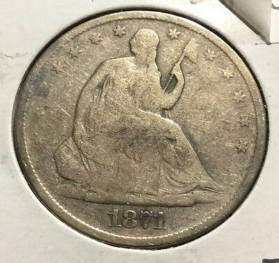 1871 Seated Liberty Silver Half Dollar - G+ ~ INV#2493