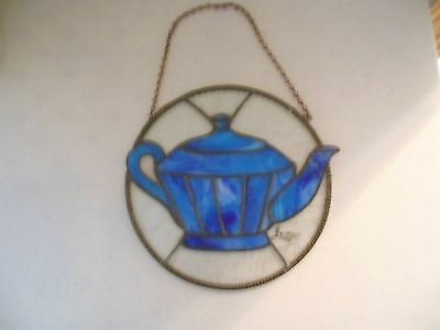 Stained Glass Teapot Sun Catcher Hanging Window Signed