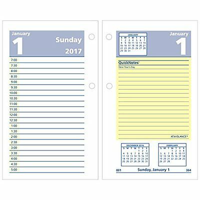 AT-A-GLANCE Daily Desk Calendar 2017 Refill, Quick Notes, 12 Months, 3-1/2 x 6""