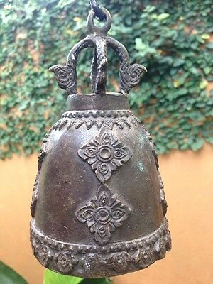Thai Temple Bell Hanging Sound Buddha Ancient Clapper Flower Bronze Solid Naga