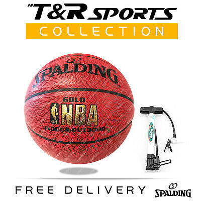 Spalding Gold NBA Indoor / Outdoor Pattern Leather Basketball Size 7 with Pump