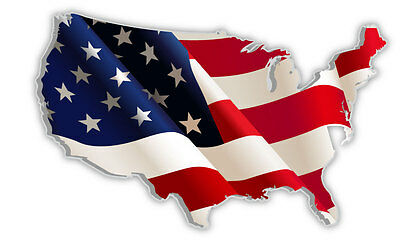 Usa United States Of America American Us Map Flag Sticker Decal 5 X - American-flag-us-map