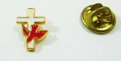 White Cross with Red Dove Confirmation Pin Back Pin
