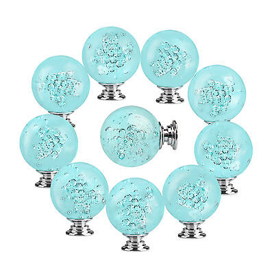 10pcs 40mm Turquoise Bubble Knob Crystal Glass Cabinet Drawer Handle Furniture