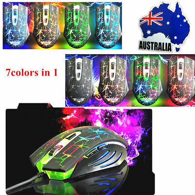 7 Colors LED Wired Gaming Mouse illuminated Rainbow Backlight PC Game Mouse