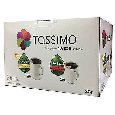 Tassimo Nabob T-Discs Pack, 84 Count 28x-Breakfast and 56x-100% Columbian