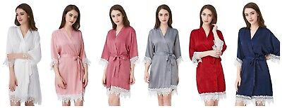 NEW! Satin Wedding Bridal Party Lace Robes Bride Robe Bridesmaid Dressing Gown