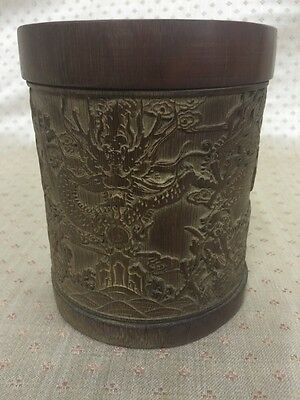 Chinese Antique Republic/Qing Period Carved Bamboo Brush Pot