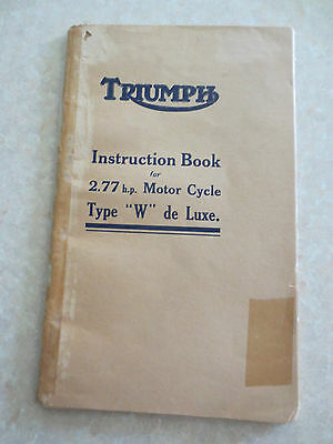Original 1920s Triumph 2.77 hp Type W de Luxe motorcycle owners manual