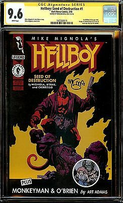 HELLBOY: SEED DESTRUCTION #1 CGC SS 9.6 ORIGIN 1st TITLE! SIGNED by MIGNOLA!