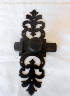 Vintage french wrought iron black ornate  Sliding Door Latch Lock Bolt
