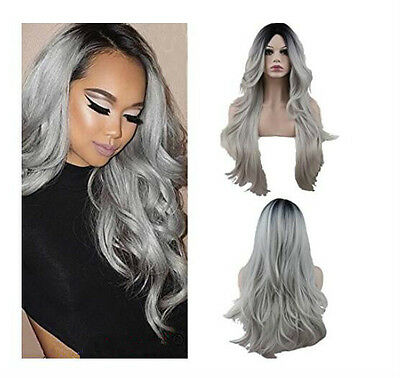 Silver grey Ombre Black Hair Cospaly Fashion Wig Sexy Girl Women Synthetic Wigs