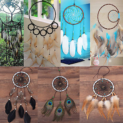 Handmade Dream Catcher With Feathers Car Wall Hanging Decoration Ornament Gift