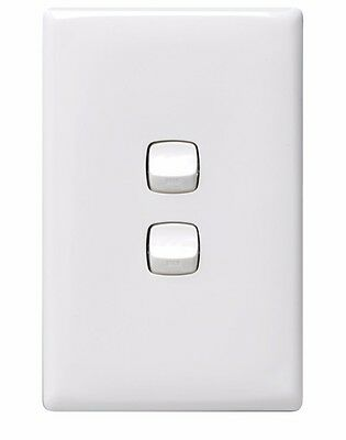 HPM 10A 2-GANG WALL SWITCH Standard Plate 240V White 114x70mm