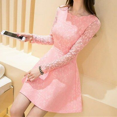 Sexy Women Lady Casual Lace Long Sleeve Party Evening Cocktail Short Mini Dress