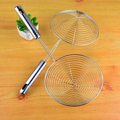 Skimmer Oval Fine Mesh Stainless Steel Food Oil Pot Strainer Ladle Home Tools 1x