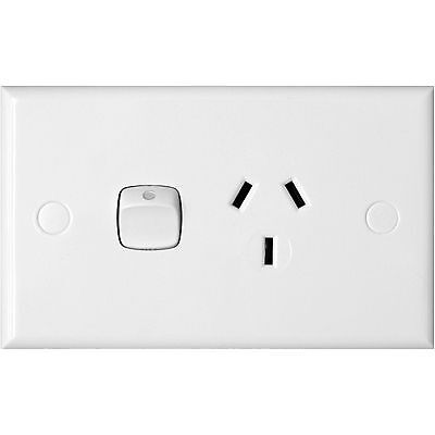 HPM 10A SINGLE POWERPOINT SWITCH  240V Standard Plate White 114x70mm
