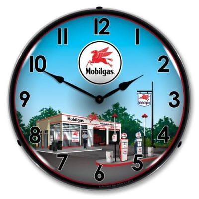 Mobil Gas Service Station Backlit Lighted Wall Clock Retro Vintage Style Usa New