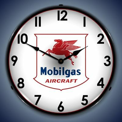 Mobilgas Mobil Aircraft Airplane Lighted Wall Clock Retro Vintage Style - New