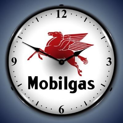 Mobilgas Mobil Gas Station Backlit Lighted Wall Clock Retro Vintage Style - New