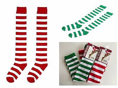 Christmas Over The Knee Socks Red/White/Green Xmas Candy Cane Striped Socks Elf