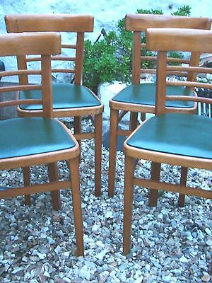 Set 4 STYLISH Vintage Green Retro BENTWOOD Beech CAFE Dining Kitchen Chairs
