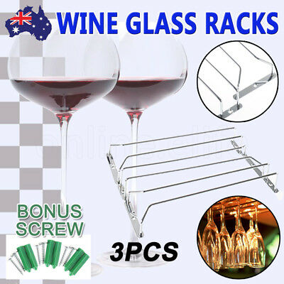 3pcs Steel Wine Rack Glass Holder Hanging Bar Hanger Iron Shelf 6pcs Bonus Screw