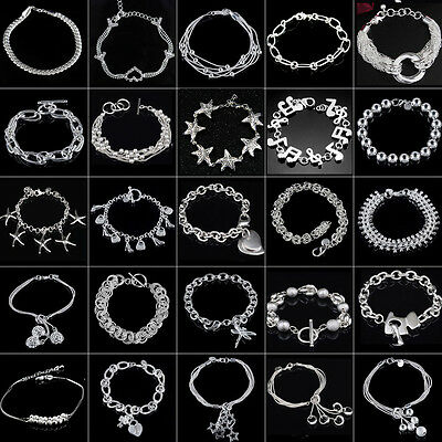 Fashion 925 Sterling SILVER Plated Charm Bracelet/bangle lady Women Jewelry gift
