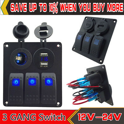 3 Gang blue Rocker Switch Panel With Double USB 4.2A Power Outlet Charger Socket
