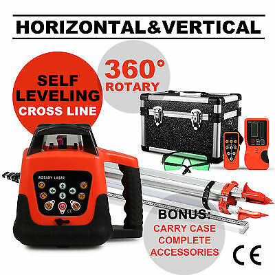 Green Rotary Laser Level 1.65M Tripod 5M Staff Building Layout Tool Leveling