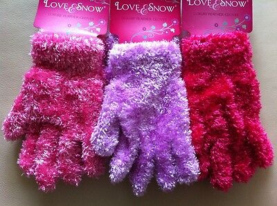 Bnwt 3 Pairs Of Girls Feather Gloves In Pinks And Lilac Age 4 5 6 7 8 9 10 11 12